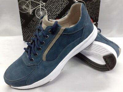 Комфортные демисезонные кроссовки синие из нубука Detta 40-45р.
