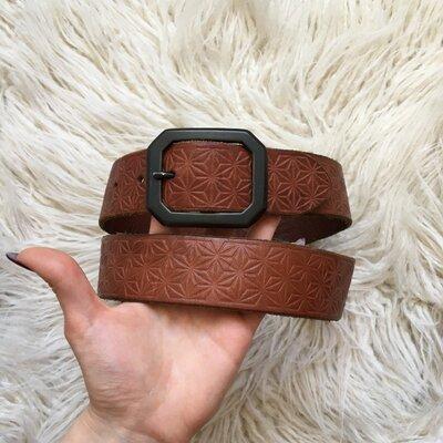 Натур. кожаный коричневый ремень 85-95 см