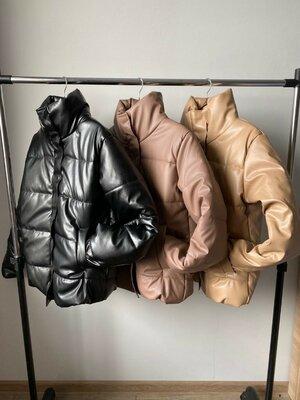 Кожаная куртка с капюшоном и без, 3 цвета