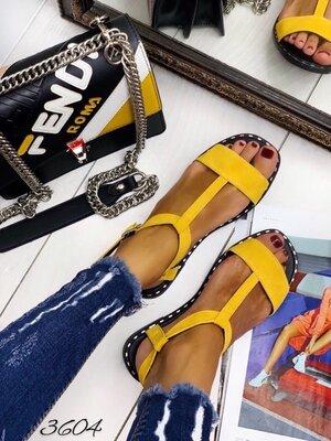 Женские натуральные кожаные замшевые сандали босоножки на низком ходу