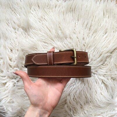 Натур. кожаный коричневый ремень 84-105 см