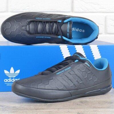 Кроссовки мужские кожаные Adidas Porsche Design серые с синим