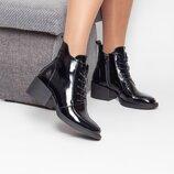 Лаковые демисезонные ботинки на каблуке 5,5 см
