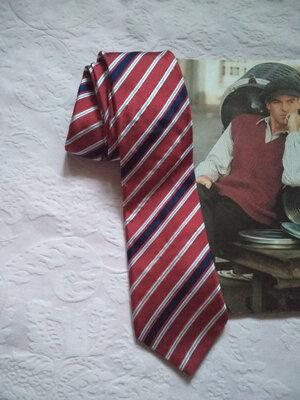 Стильный актуальный винтажный шелковый галстук в полоску next 100% шелк