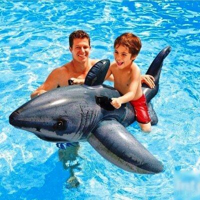 Детский надувной плотик Intex 57525 Белая Акула, 173 х 107 см