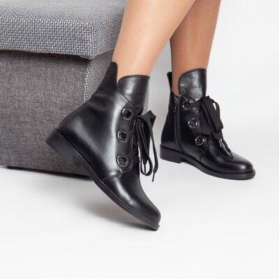 Деми черные кожаные ботинки на каждый день