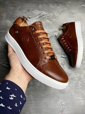 Мужские натуральные кожаные кеды кроссовки кроссы мокасины коричневые рыжие спортивные туфли