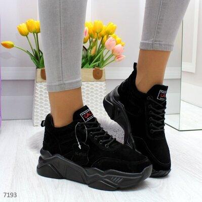 Черные замшевые кроссовки деми, женские кожаные кроссовки, жіночі кросівки 36,38-40р код 7193
