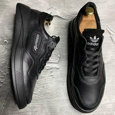 Мужские кожаные черные качественные кроссовки кроссы кеды стильные модные прогулочные для спорта гор