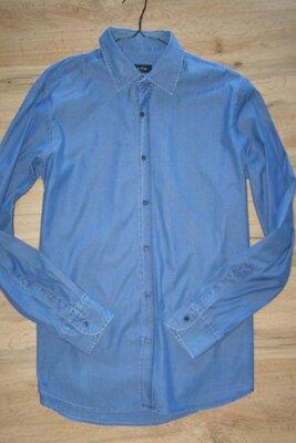 Massimo Dutti мужская рубашка под джинс 100% хлопок L-размер