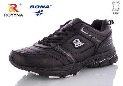 Кожаные мужские черные кроссовки Royyna Bona 41-46