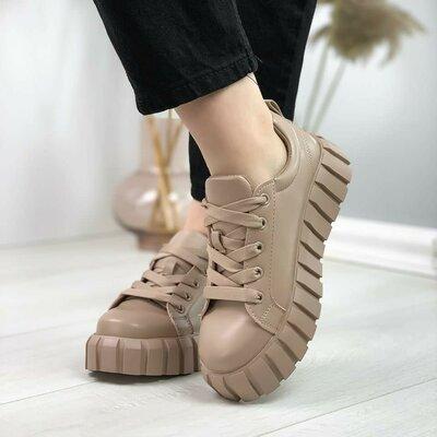 Кроссовки кеды туфли женские бежевые мокко