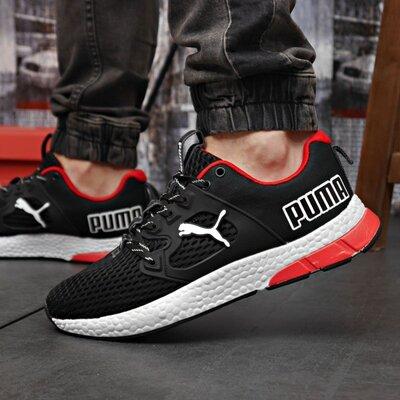 Кроссовки мужские Puma, черные с красным, сетка.