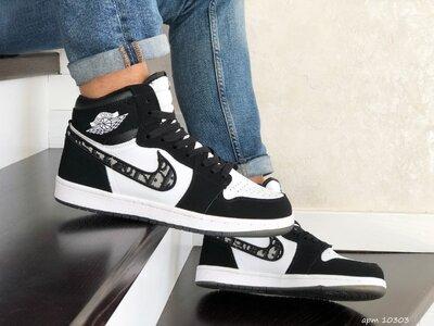 Nike Air Jordan Dior кроссовки мужские демисезонные черные с белым 10303