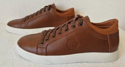 Туфли мужские кожаные в спортивном стиле кеды Philipp Plein коричневые