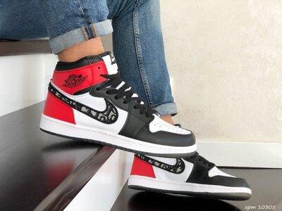 Nike Air Jordan Dior кроссовки мужские демисезонные черные с белым и красным 10305