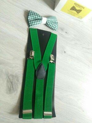 Мужские подтяжки. Зелёные подтяжки.