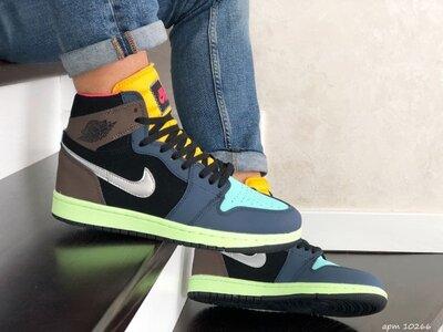 Стильные хайтопы Nike Air Jordan черно/коричнево/желтые р.41-46