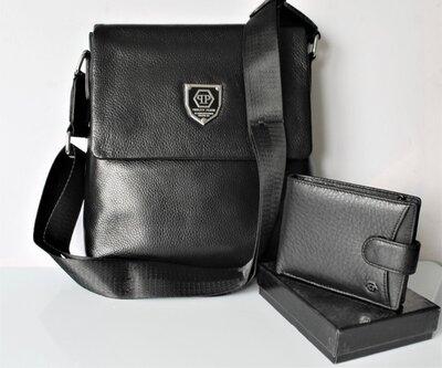 Мужской подарочный набор - сумка и кошелек Philipp Plein черный