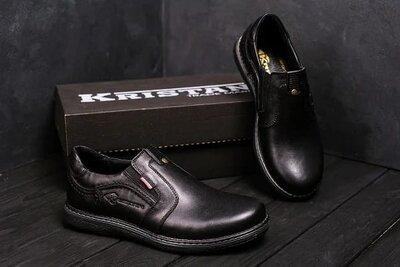 Мужские кожаные туфли Kristan black old school Код 115 ч 1220 грн В наявності - 40,41,42,43,44,45 р