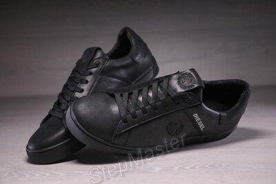 Кожаные мужские кеды diesel black