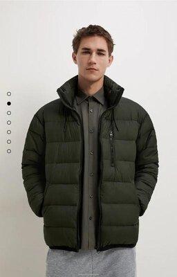 Дутая куртка с капюшоном zara m xl xxl