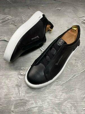 Мужские кожаные натуральные брендовые фирменные кеды кроссовки спортивные туфли мокасины без шнурков