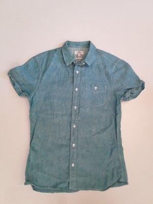 Фирменная льняная рубашка M