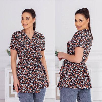 Женская классическая летняя блузка туника на запах завышенная талия женские летние блузки туники