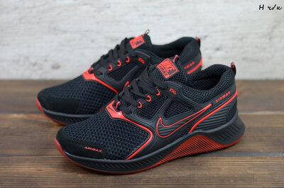 Мужские кроссовки Nike, текстиль, черно-красные, код Н ч/к