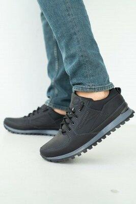 Мужские кроссовки кожаные весна/осень черные Emirro 95