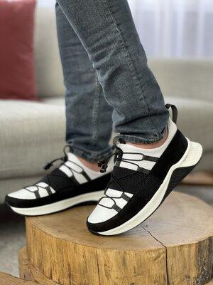 Черно-Белые кроссовки из натуральной кожи и замши