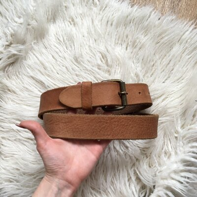 Натур. кожаный коричневый ремень 78-99 см