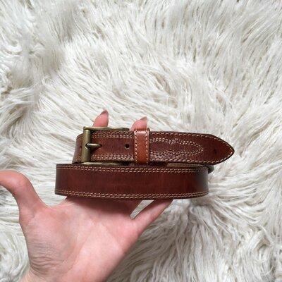 Продано: Натур. кожаный коричневый ремень 79-89 см