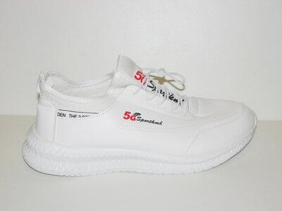Чоловічі білі кросівки, кеди на шнурках еко шкіра 41 42 43 44 45