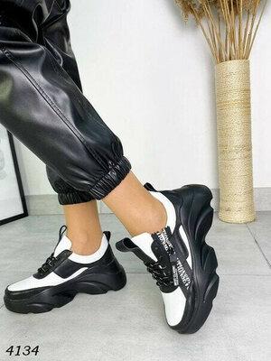 р.36-40 Модные кожаные весенние женские кроссовки, на платформе белые черные кросовки кеды