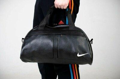 Сумка груша кожзам черный Nike c белым лого
