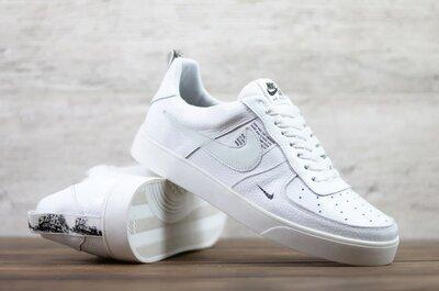 Мужские кожаные кеды Nike 01-15/2 бел