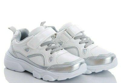 Шикарные кроссовки р. 27-28, 30-32 белые с серебром
