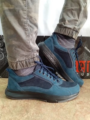 Стильные демисезонные кроссовки синие из нубука Detta 40-45р.