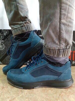 Комфортные весенне-летние кроссовки синие из нубука Detta 40-45р.