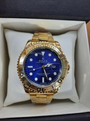 Мужские часы реплика Rolex Oyster Perpetual Ролекс Gold/Blue