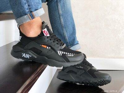 Nike Air Huarache кроссовки мужские демисезонные черные с белым 10318