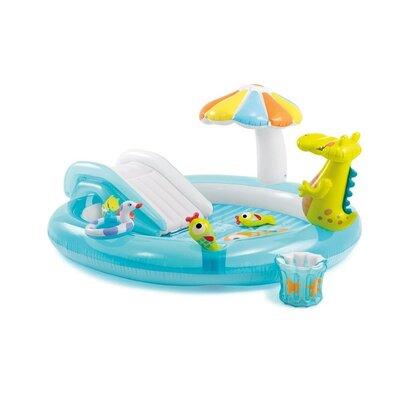 Детский надувной центр с горкой Intex 57165 «Крокодил», 201х170х84 см