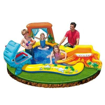 Детский надувной центр с горкой для спуска Intex 57444 Динозавры 249 191 109 см