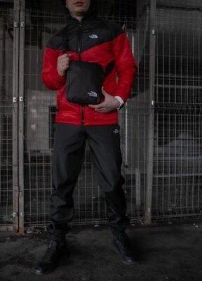 Мужской демисезонный комплект красно-черного цвета the north face
