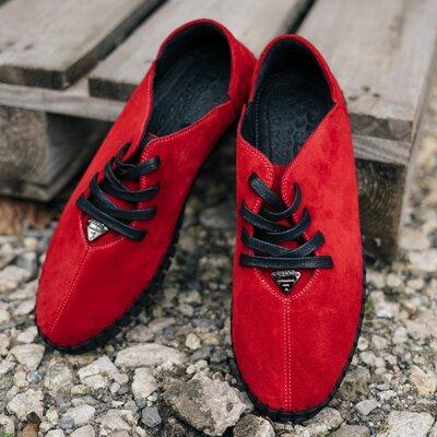 Мужские натуральные качественные мокасины красные мокасы кеды натуральные замшевые крутые стильные