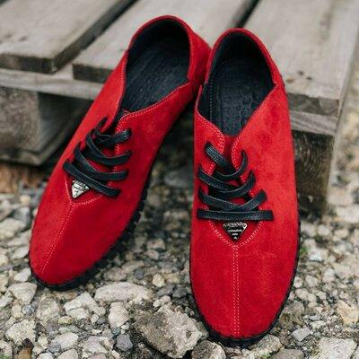 Яркие красные мокасины мокасы кеды кроссовки кроссы спортивные туфли натуральные замшевые стильные к