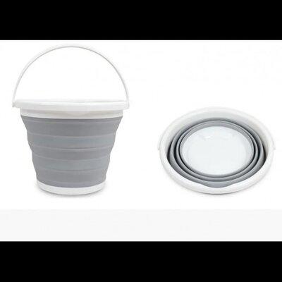 Ведро 10 литров туристическое складное Collapsible Bucket Серый