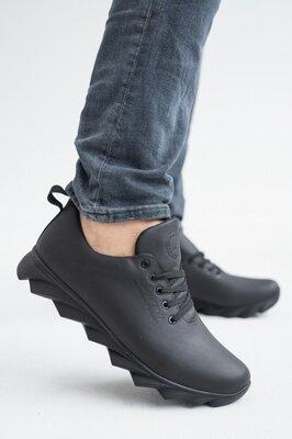 Классные кожаные кроссовки на рифленной подошве